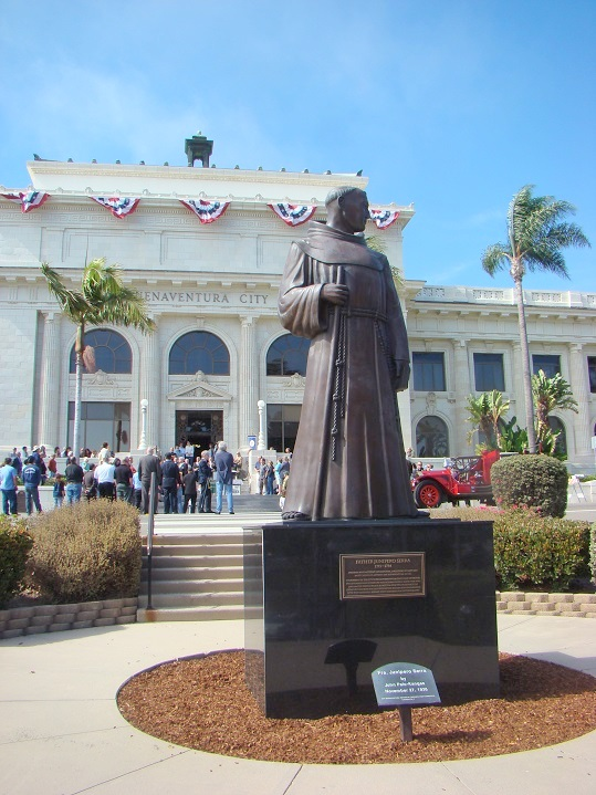 St. Junipero Serra proudly sits in front of city hall.