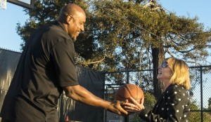 After the ribbon cutting the Mayor played a little one on one with former NBA Star Lamond Murray. She was too quick for him.