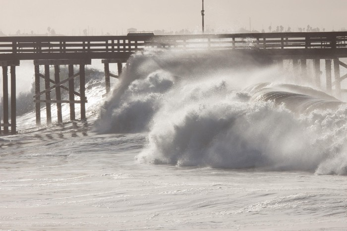 High surf damages Ventura Pier. Photo by Bob Messina