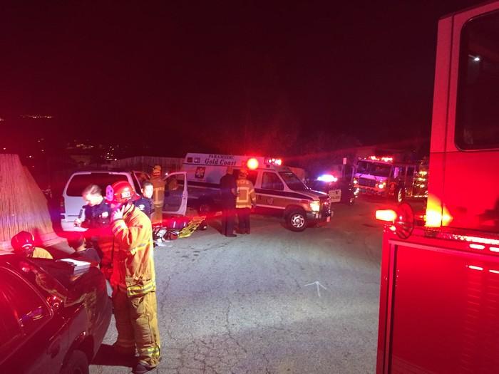 Ventura firefighters respond to vagrant encampment fire below