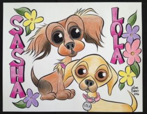 My good friend Jaime Baker does these wonderful dog (and people) caricatures.