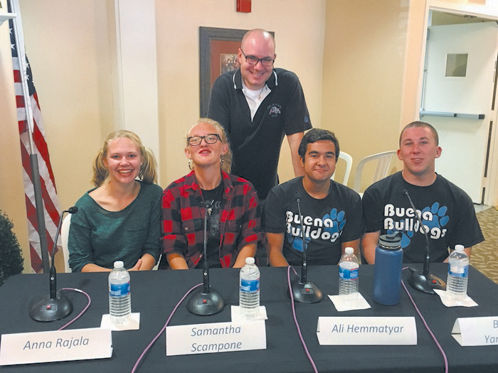 The teen team from Buena High School were Anna Rajala, Samantha Scampone, Ali Hemmatyar and Brady Yarbrough. Buena Librarian Joel Levin crafted the questions. Photo by John Hankins
