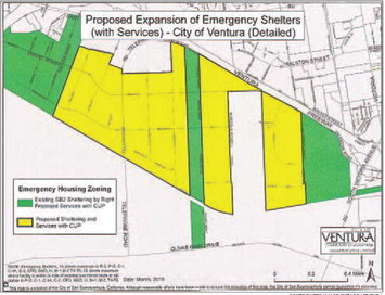Map illustrates where a permitted overnight shelter with daytime services might be allowed and where shelters are currently permitted.