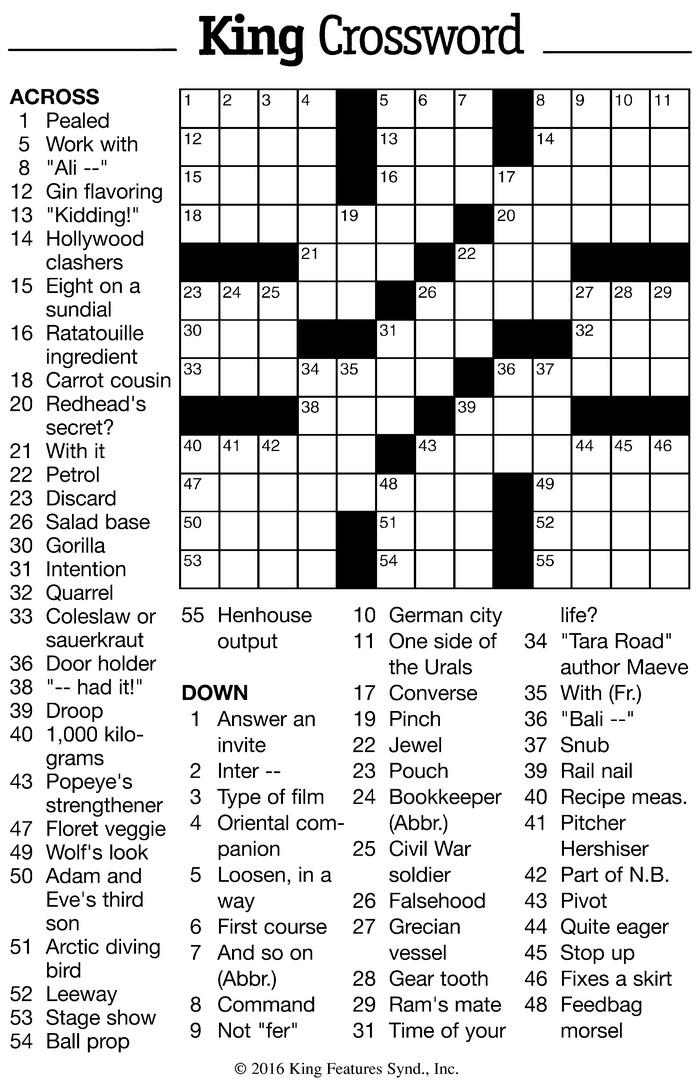 Vol  9, No  18 – June 8 – June 21, 2016 – Crossword