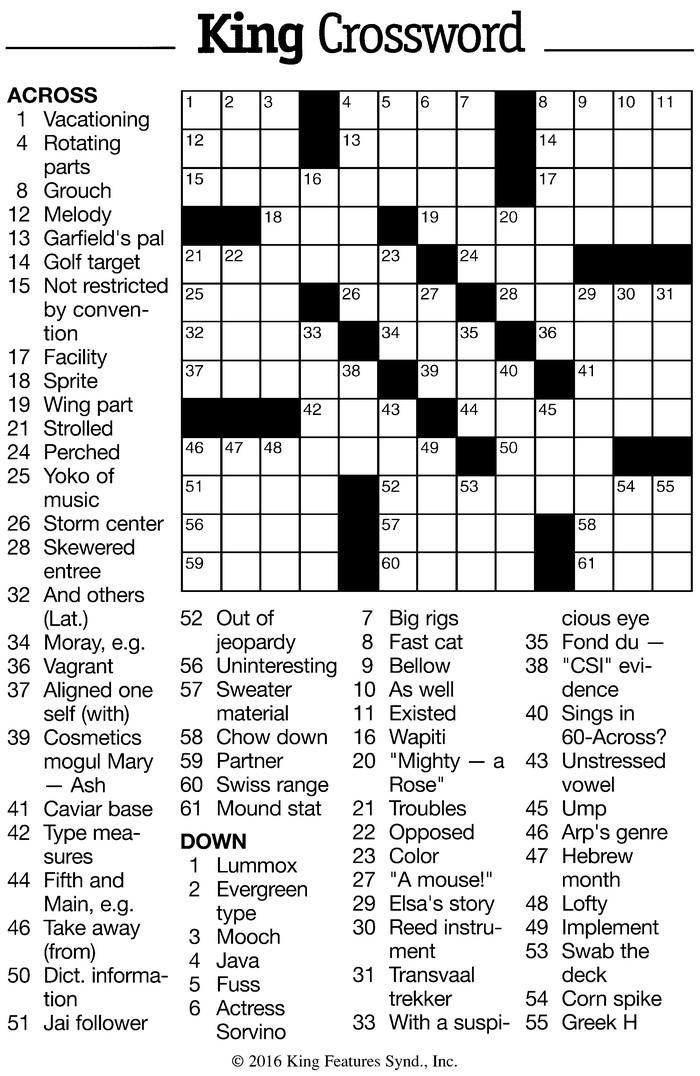 Vol  9, No  24 – August 31 – September 13, 2016 – Crossword