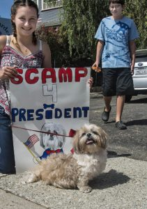 Even though they are too young to vote Jolie Seemayer and Evin Brown showed their support for Scamp.