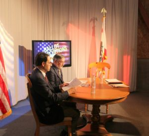 Herbert Gooch, CLU and Scott Frisch, CSUCI prep for their election show with David Maron, LWV.