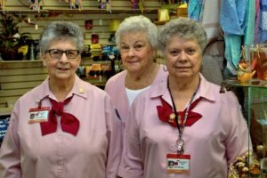 Long time volunteers Doris , Ginny , and Judy in the CMH Auxiliary Gift Shop. Not shown is volunteer Pat Utter.Photo by Michael Gordon
